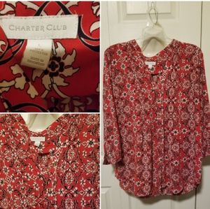 Red flower soft blouse